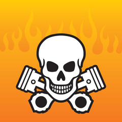 Skull and Crossed Pistons with flames