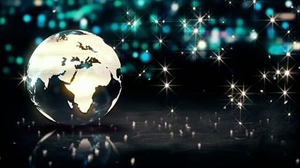 Globe Glass Crystal Silver City Shine Bokeh 3D Loop Animation