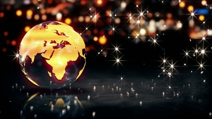 Globe Glass Crystal Gold City Light Bokeh 3D Loop Animation