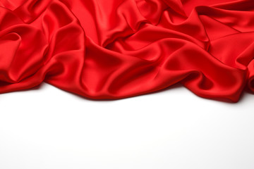Red silk textile background with copy space