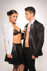 Fashion Photo Shoot. Two Sexy Young Couple
