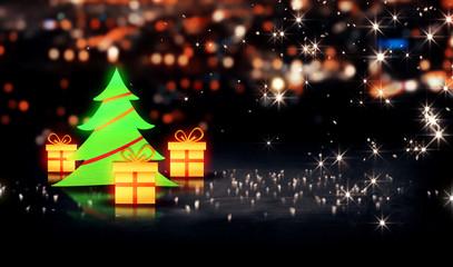 Christmas Tree Gift 3D Shine City Bokeh Background