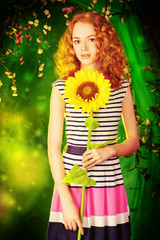 teen with sunflower