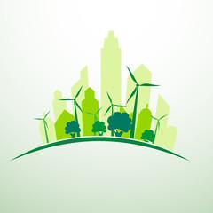 Green ecology city concept  background ,illustration