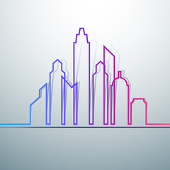 Colorful city skylines background vector illustration