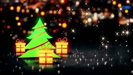 Christmas Tree Gift 3D Shine City Bokeh Loop Animation