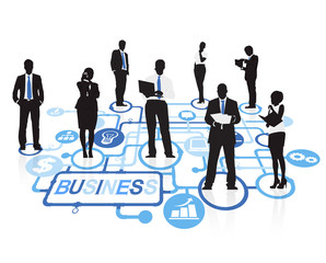 Silhouette Group Business People with Symbol