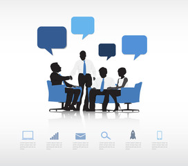 Vector of Business People's Handshake with Speech Bubbles