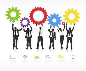Business People With Infographic Elements