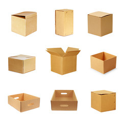 Brown paper carton boxes isolated on white