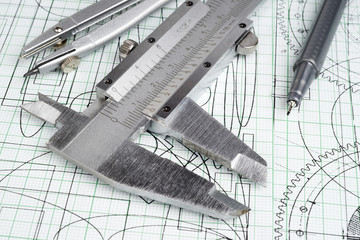 vernier callipers , compasses, technical pen and drawings