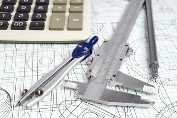 vernier callipers , calculator and drawings