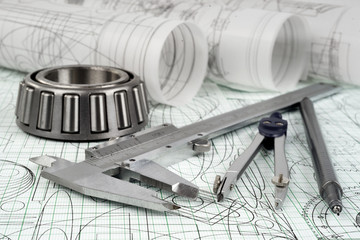 roller bearing, vernier callipers  and drawings