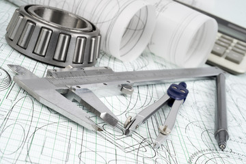 roller bearing, vernier callipers, compasses and drawings
