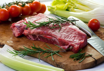 Portion of uncooked lean healthy beef steak