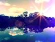 canvas print picture - Romantic lake
