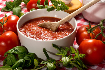 Bowl of fresh healthy homemade tomato puree