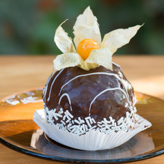 Chocolate cake with the physalis