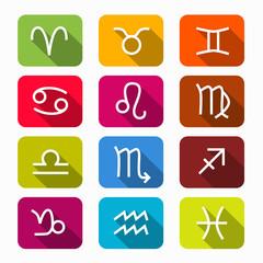 Zodiac, Horoscope Colorful Vector Symbols on Rounded Squares
