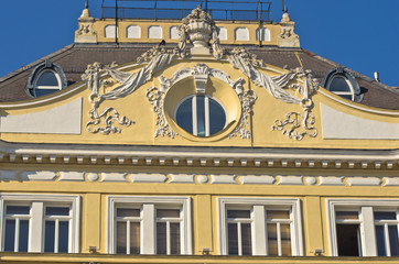 Detail of 19th century architecture style building in Vienna