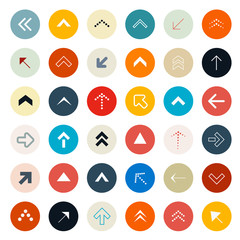 Retro Arrows Set in Circles - Vector Illustration