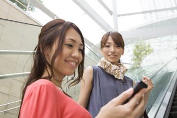 Escalator、Mobile phone、Woman