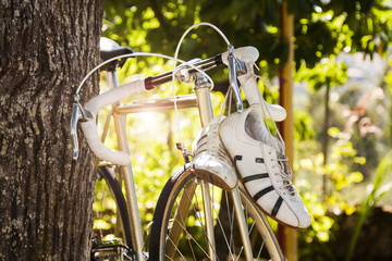 Vintage road bike in the foreground outdoors