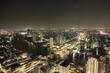 canvas print picture - Bangkok bei Nacht mit Autobahn- und Flussverkehr