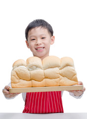 Little Asian cook with bread  isolated on white background.