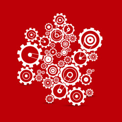 Abstract white vector cogs - gears on red background