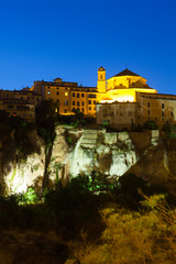 Night picturesque view of houses on rock in Cuenca