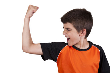boy doing gymnastics with weights on white background