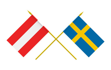 Flags, Austria and Sweden