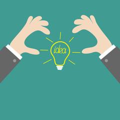 Businessman hands holding idea light bulb Flat
