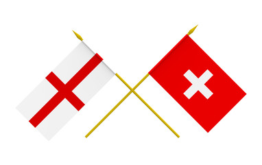 Flags, England and Switzerland