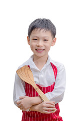 Smiling little cook with flipper isolated on white background