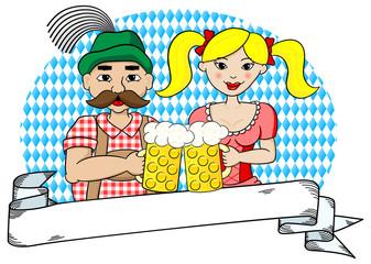 bayerisches Paar auf dem Oktoberfest mit Banner