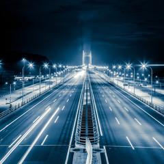 Highway at night in long exposure