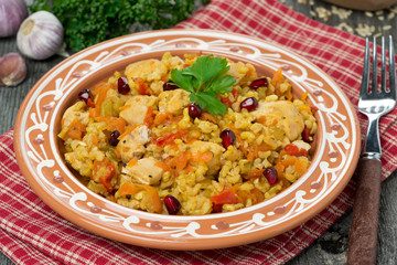 pilaf with chicken and vegetables, close-up