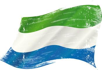 waving Sierra Leone grunge flag