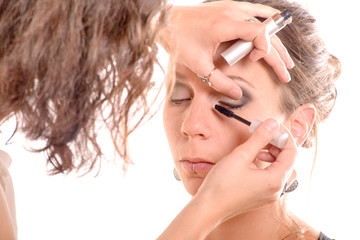 pretty young woman is make up