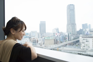 Women look out from the window