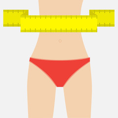 Woman figure waist red underwear. Measuring tape. Flat design