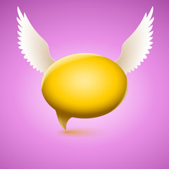 Speech bubble with wing
