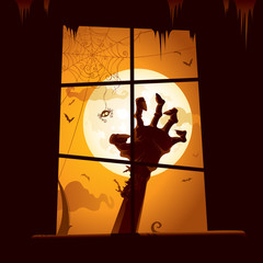 Halloween scene - View from window