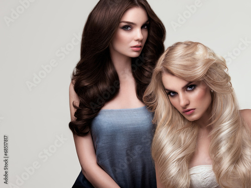 Brown and Blonde Hair. Portrait of Beautiful Womans with Long Ha Poster