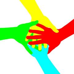 mains superposées