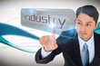 Businessman pointing to word industry
