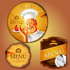 badges chef menu vintage