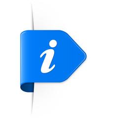 i - Blauer Sticker Pfeil mit Schatten